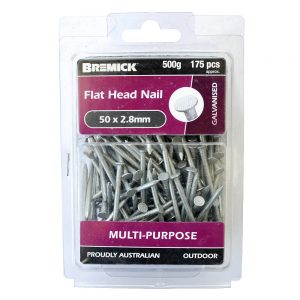 Galvanised Flat Head Nail 50 x 2.8mm 500g/175 Pack