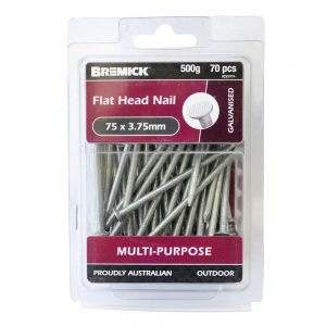 Galvanised Flat Head Nail 75 x 3.75mm 500g/70 Pack